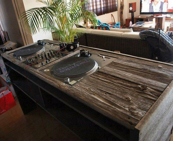 Wooden Table with Technics