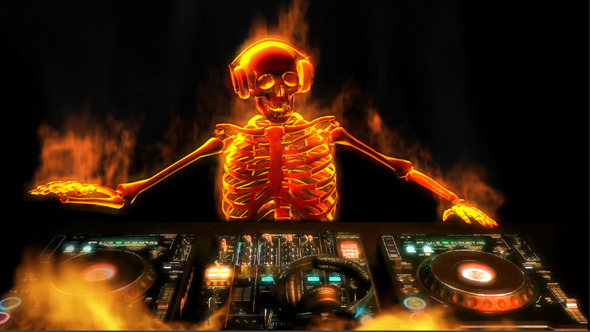 DJ Skeleton on Fire