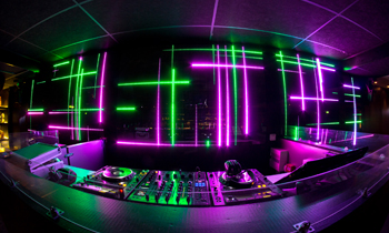 DJ Booth with Neon Lights