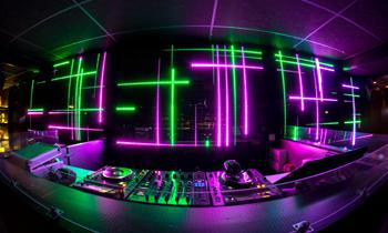 DJ Booth with Neon Lights