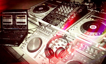Four CDJs and Mini Laptop