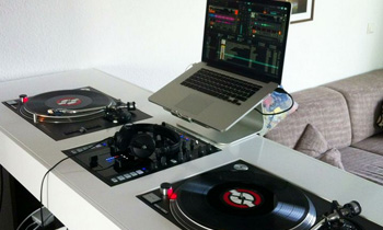 Living Room Setup with Nice DJ Table