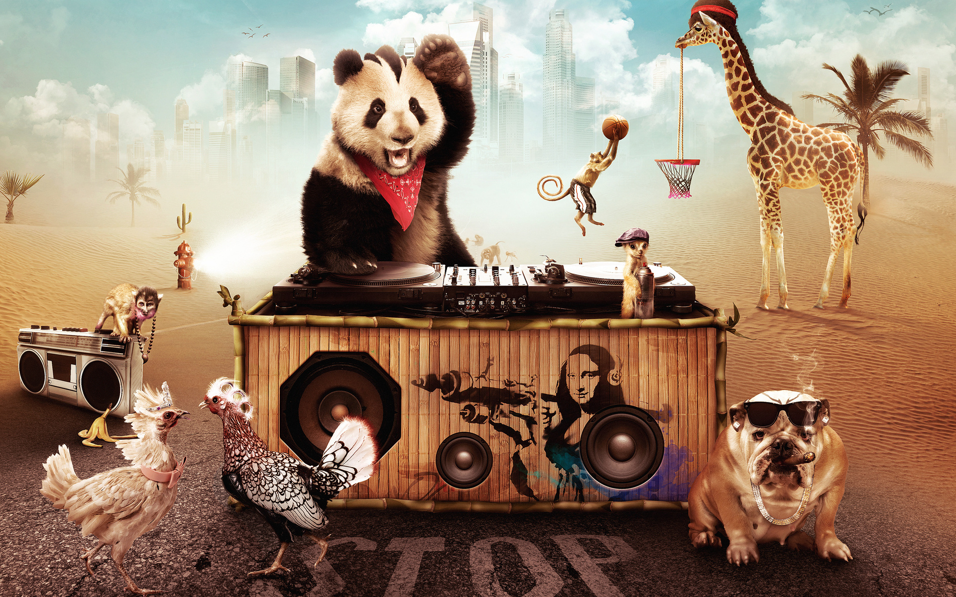 Party Animals DJ Wallpaper