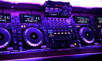 CDJs and Mixer with Ambient Light