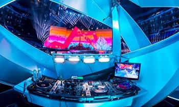 Futuristic DJ Booth at Club
