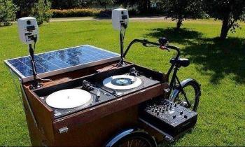 Solar Panel Powered DJ Setup